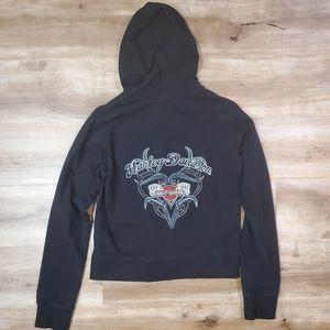 Harley Davidson Women's Zip Up Hooded Sweatshirt